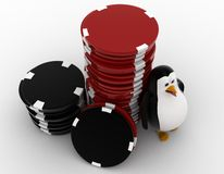 3d penguin with stack of red and black dices concept Stock Photo