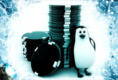 3d penguin with stack of red and black dices illustration Royalty Free Stock Photos