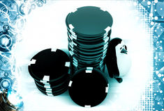 3d penguin with stack of red and black dices illustration Royalty Free Stock Photo