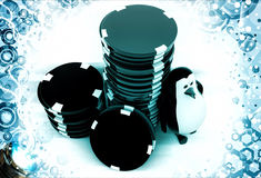 3d penguin with stack of red and black dices illustration Royalty Free Stock Image
