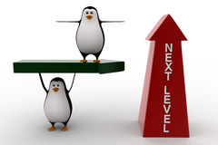 3d penguin standing on arrow and with upside next level arrow concept Stock Images