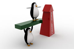 3d penguin standing on arrow and with upside next level arrow concept Stock Photos