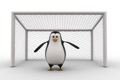 3d penguin standing as a goalkeeper concept Royalty Free Stock Image