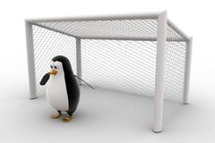 3d penguin standing as a goalkeeper concept Royalty Free Stock Photography