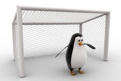 3d penguin standing as a goalkeeper concept Royalty Free Stock Photos