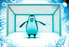 3d penguin standing as a goalkeeper illustration Stock Photography