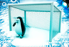 3d penguin standing as a goalkeeper illustration Royalty Free Stock Photography