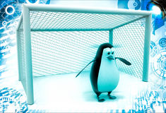 3d penguin standing as a goalkeeper illustration Royalty Free Stock Images