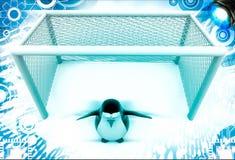 3d penguin standing as a goalkeeper illustration Stock Photo