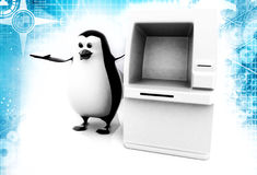 3d penguin standing with ATM machine illustration Stock Images