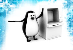 3d penguin standing with ATM machine illustration Royalty Free Stock Images