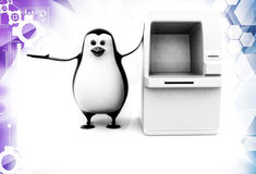 3d penguin standing with ATM machine illustration Stock Image