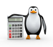 3d penguin standing with calculator Royalty Free Stock Images