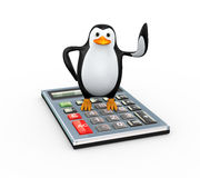 3d penguin standing on calculator Stock Photo