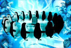 3d penguin standing in circular queue illustration Royalty Free Stock Photo