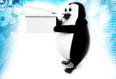 3d penguin standing with clapper illustration Royalty Free Stock Image