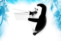 3d penguin standing with clapper illustration Royalty Free Stock Images
