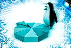 3d penguin standing on colourful pie chart illustration Stock Photography