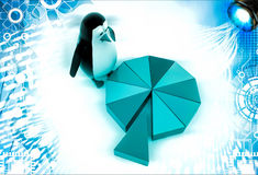 3d penguin standing on colourful pie chart illustration Stock Photo