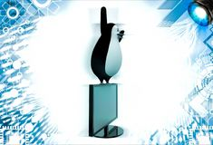 3d penguin standing on desktop screen hand happy illustration Stock Photo