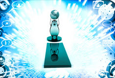 3d penguin standing on exclamation mark with earth model in hand illustration Royalty Free Stock Images