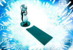 3d penguin standing on exclamation mark with earth model in hand illustration Stock Images