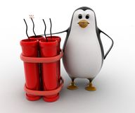 3d penguin standing with explosives concept Royalty Free Stock Image