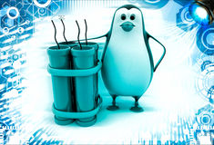 3d penguin standing with explosives illustration Royalty Free Stock Photo