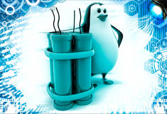 3d penguin standing with explosives illustration Stock Image