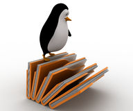 3d penguin standing on falling file folder concept Stock Photography