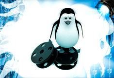 3d penguin standing film roll illustration Royalty Free Stock Photo