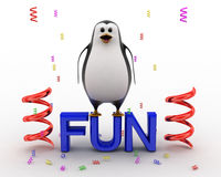 3d penguin standing on fun text and with ribbons concept Stock Photos