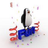 3d penguin standing on fun text and with ribbons concept Stock Photography