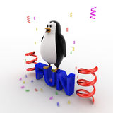 3d penguin standing on fun text and with ribbons concept Royalty Free Stock Photo
