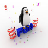 3d penguin standing on fun text and with ribbons concept Stock Images