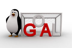 3d penguin standing beside goal net concept Royalty Free Stock Photos