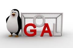 3d penguin standing beside goal net concept Royalty Free Stock Photos