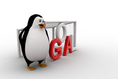 3d penguin standing beside goal net concept Royalty Free Stock Photography
