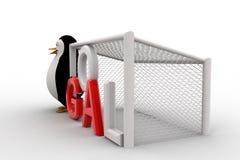 3d penguin standing beside goal net concept Stock Photos