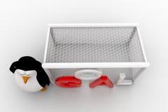 3d penguin standing beside goal net concept Royalty Free Stock Images
