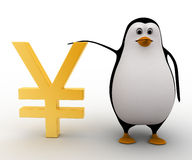 3d penguin standing with golden japanese yen  currency symbol concept Royalty Free Stock Photo