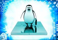 3d penguin standing golden puzzle pieces illustration Stock Image