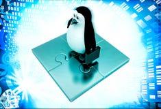 3d penguin standing golden puzzle pieces illustration Stock Photos