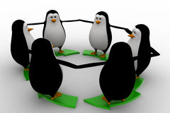 3d penguin standing on green arrow round shape concept Stock Photo