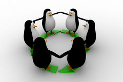 3d penguin standing on green arrow round shape concept Royalty Free Stock Photography