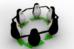 3d penguin standing on green arrow round shape concept Stock Image