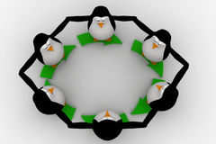 3d penguin standing on green arrow round shape concept Royalty Free Stock Images