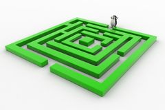 3d penguin standing before green maze concept Royalty Free Stock Photography