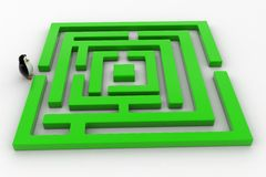 3d penguin standing before green maze concept Stock Images