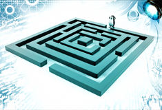 3d penguin standing before green maze illustration Stock Photo